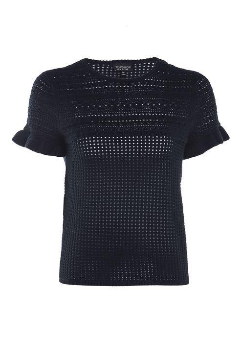 Stitchy Ruffle Knitted T-Shirt