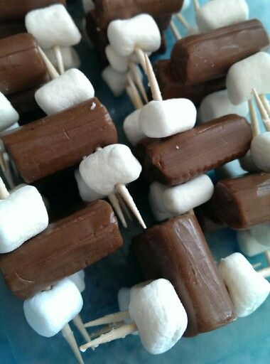 Tootsie Rolls and mini marshmallows. Bachelorette party food.