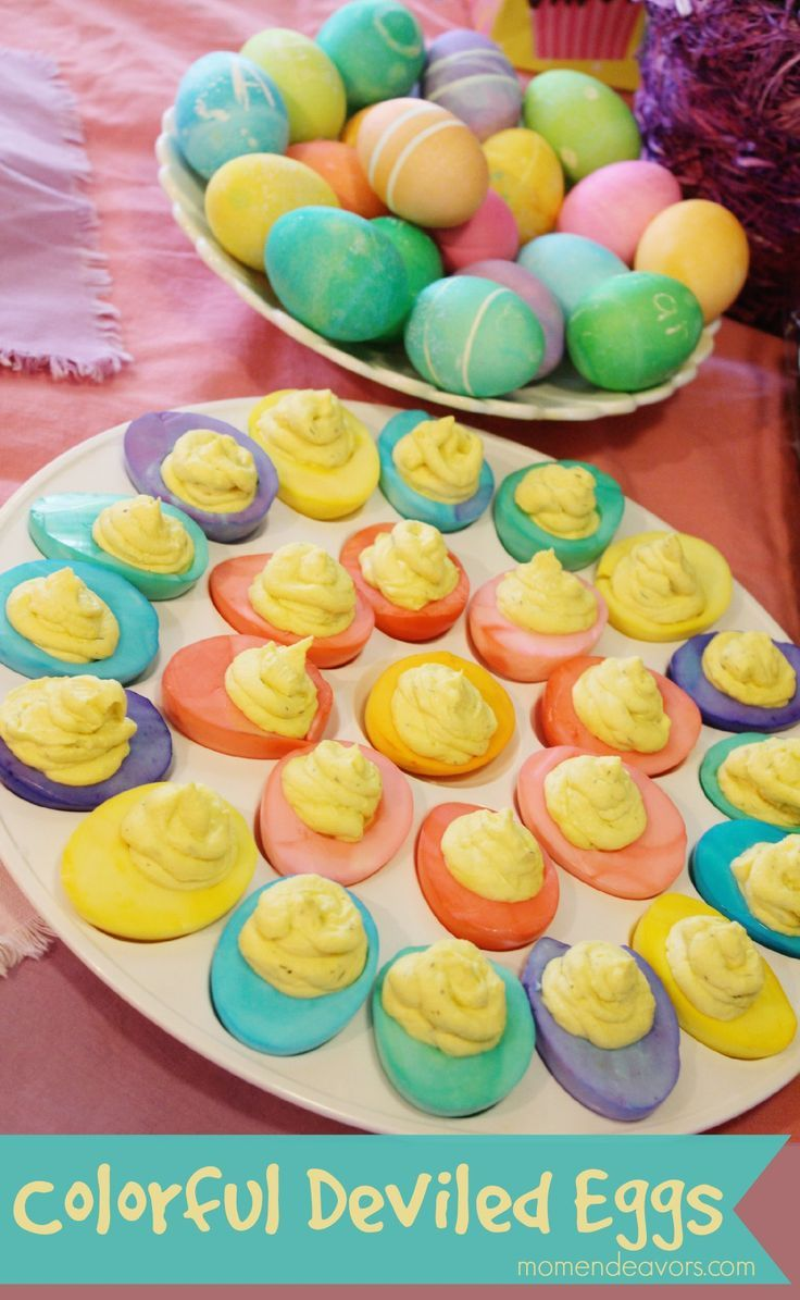 Colorful Deviled Eggs - Perfect for Easter via momendeavors.com