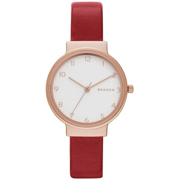 Skagen Women's Red Leather Strap Watch 30mm SKW2552 ($145) ❤ liked on Polyvore featuring jewelry, watches, red, skagen jewelry, skagen wrist watch, skagen, red watches and skagen watches