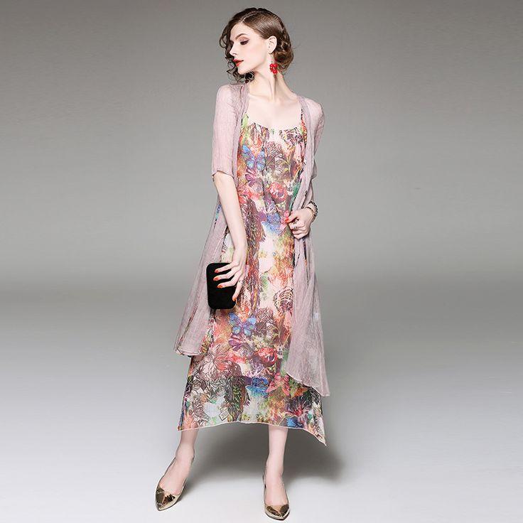 Women Dress Suits 2017 Spring Summer Fashion Silk Flowers Printed Long Slip Dress + Solid Silk Cardigan 2 Piece Set Female