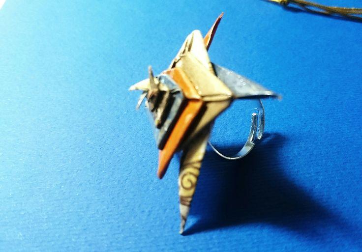 Anello stella spinale  Realizzato con la tecnica origami Materiale carta washi  Trattamento anticipo urti e impermeabilizzato