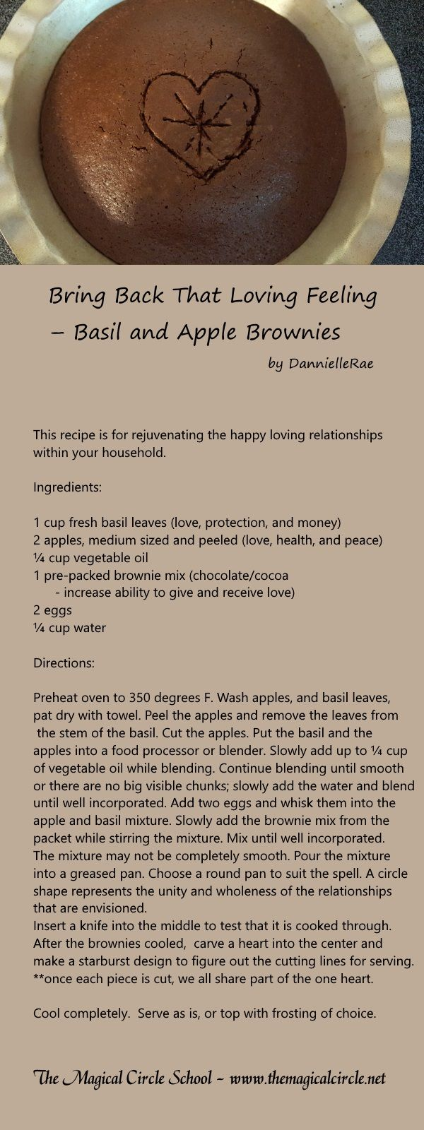 Basil and Apple Brownies - Love Spell Work - by DannielleRae - The Magical Circle School www.themagicalcircle.net