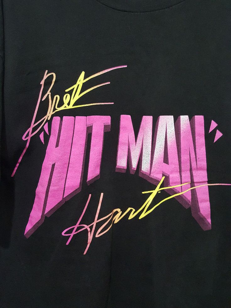 Bret the Hitman Hart Vintage Black T-Shirt WWF 1995 The Excellence of Execution…
