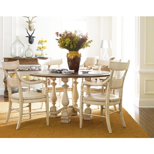 The Classic Portfolio Old World 5 Piece 54 Round Dining Table Set With Pecan