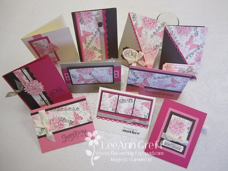 Cards using one page of Designer Paper and other cardstock