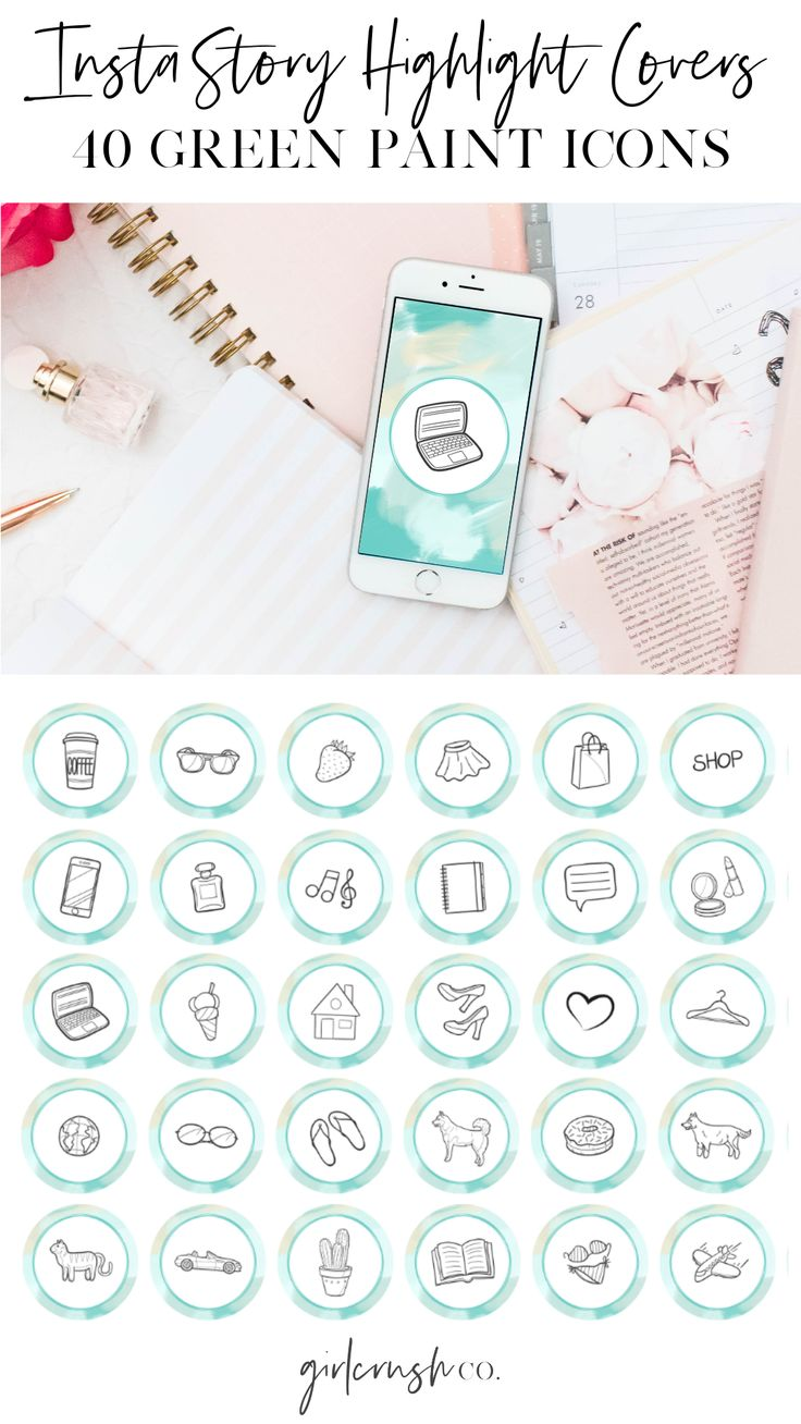 Instagram Story Highlight Covers Green Paint Icons Etsy