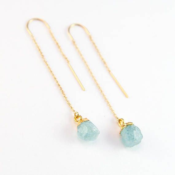 Raw Aquamarine Earring Threaders, Aquamarine Earrings Wedding, March Birthstone Threader Earring, Stone Drop, Bridesmaid Gift, Birthday Gift  ………………………………….  These are 100% natural raw birthstone nuggets in their most organic state. Hanging from a 14k gold filled or sterling silver threader