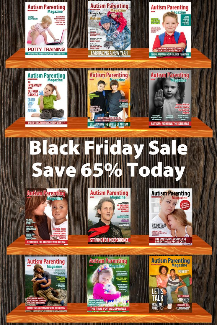 Massive Sale on Autism Parenting Magazine.   For a limited time only, when you sign up for an annual subscription toAutism Parenting Magazine, youwill receive ALLof 2017 back issues for FREE!  That's$119 worth of magazines for only $29.88 — that's65% in savings.  24 magazines for only $1.25 per issue!  Don't delay — this amazing offer ends just beforemidnight (PST) on cyber monday.
