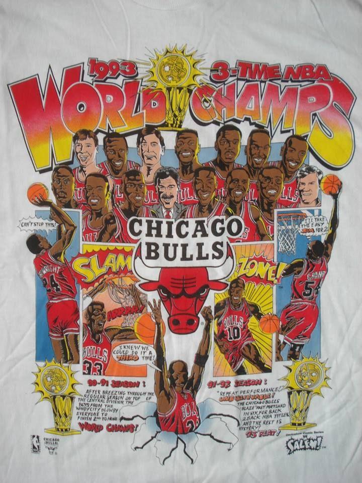 Vintage NOS 90s CHICAGO BULLS CARICATURE T SHIRT 1993 Michael Jordan UNWORN