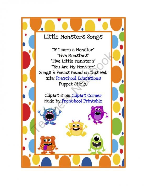 Little Monsters Songs from Preschool Printables on TeachersNotebook.com -  (5 pages)