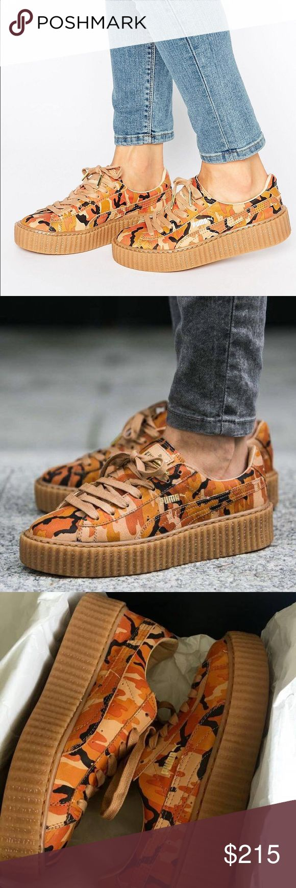 New puma Rihanna Fenty Creepers orange Camo New in box. 100% authentic! Women's size 8.5. Lower on Merc. Feel free to make me an offer :) Puma Shoes Sneakers