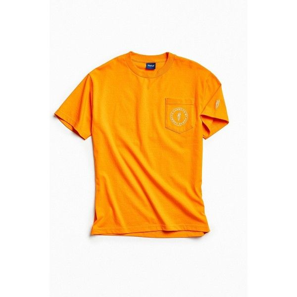 Carrots Circle Logo Pocket Tee ($48) ❤ liked on Polyvore featuring men's fashion, men's clothing, men's shirts, men's t-shirts, mens cotton t shirts, mens orange t shirt, mens orange shirt, mens cotton shirts and mens pocket t shirts