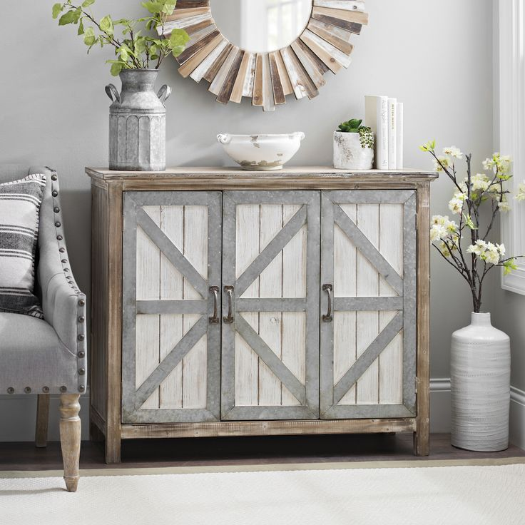 A cabinet is a stylish storage solution for your farmhouse. Put in in your dining room and fill it with your fine china, or place it in your living room to store your extra pillows and throws.