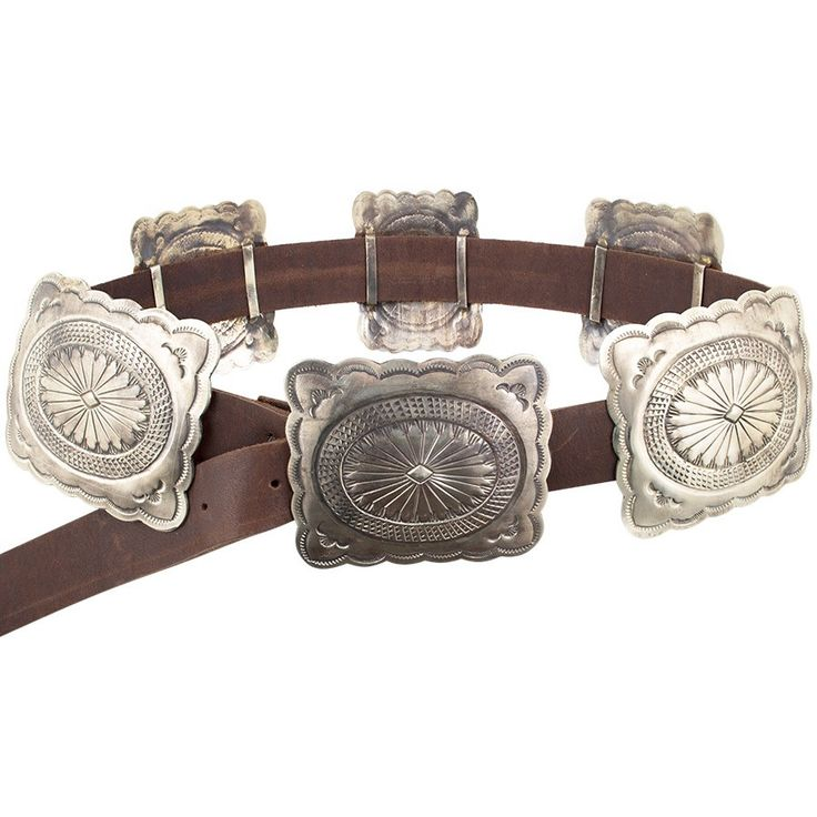 Handmade Silver Concho Belt Six Rectangular Sliding Conchos Polished Vintage Finish Brown Calf Leather Belt Strap A traditional concho belt made to have the look and feel of vintage Navajo silverwork.