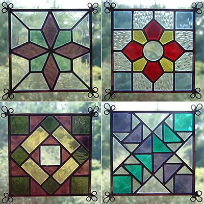 NEW+Set+of+4+Stained+Glass+Quilt+Pattern+Suncatcher+401