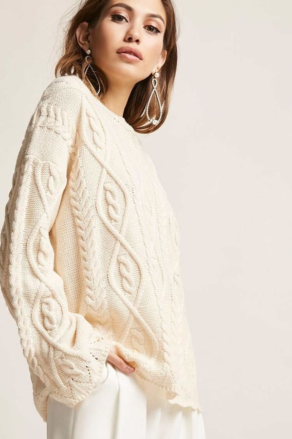 Forever 21 Scalloped Cable Knit Sweater Cream Sweater Neutral