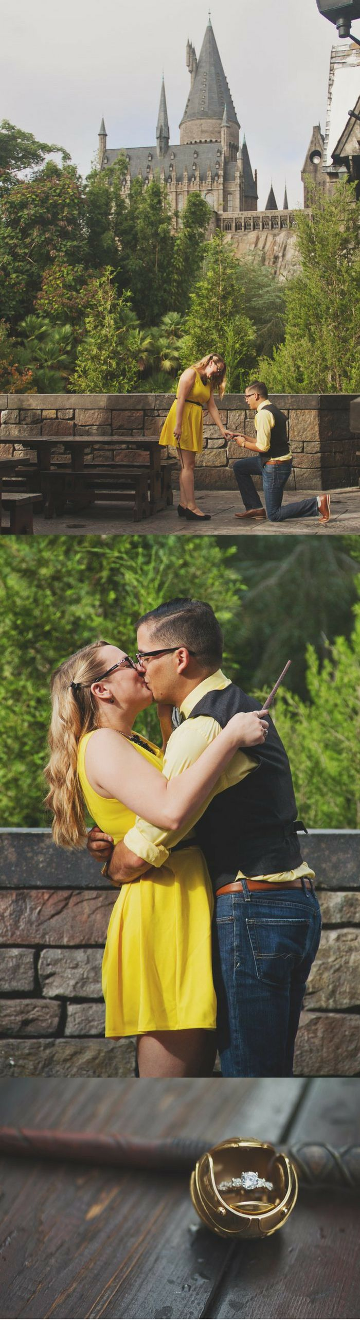 He surprised her with the most magical Harry Potter marriage proposal, complete with a golden snitch ring box!