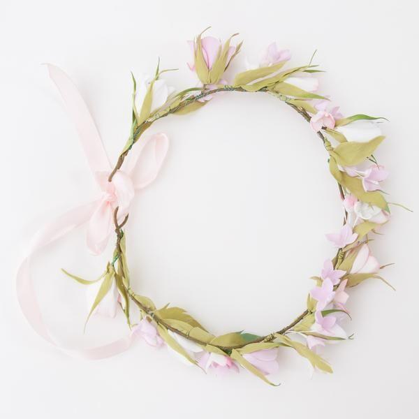 Pink spring flowers head wreath