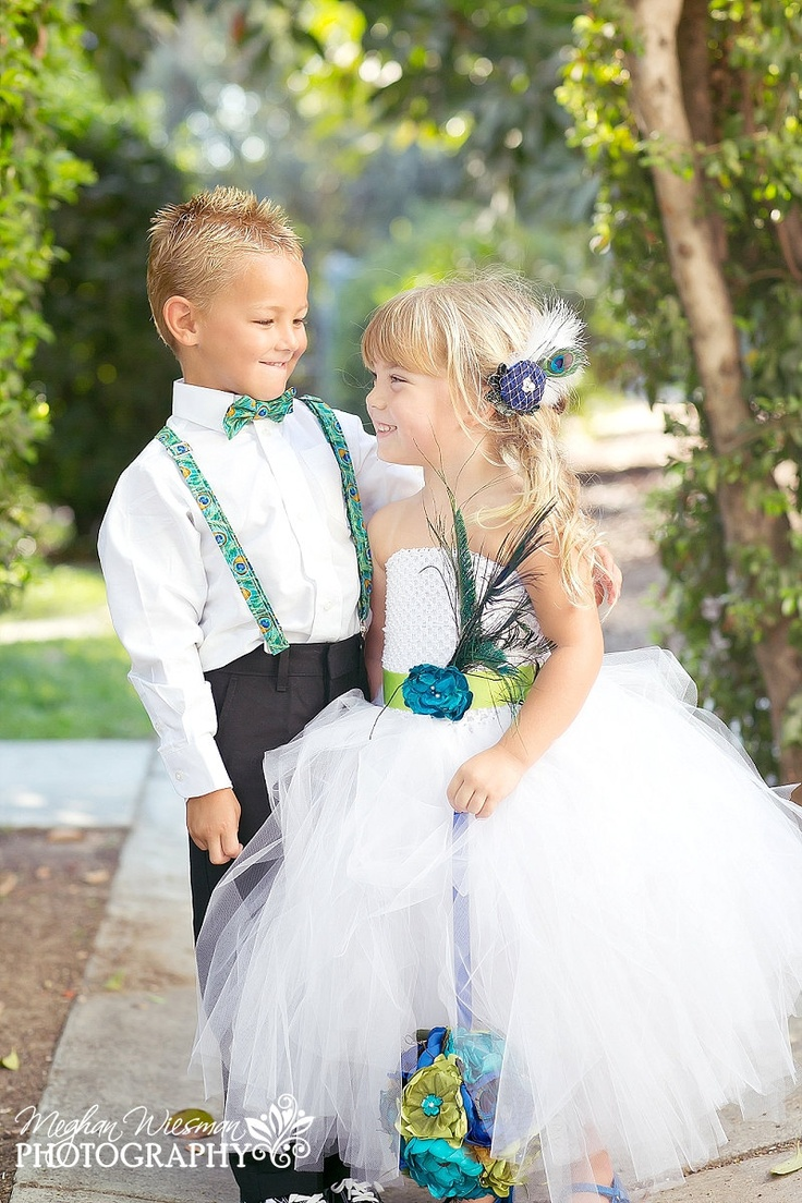 So stinking cute! Custom Flower Girl Dress- Peacock Inspired or Choose your own colors. $95.00, via Etsy.
