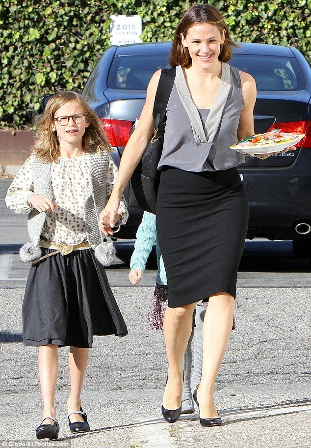 Family time: Actress Jennifer Garner, 43, showcased her toned arms and legs on an outing with her three children on Sunday