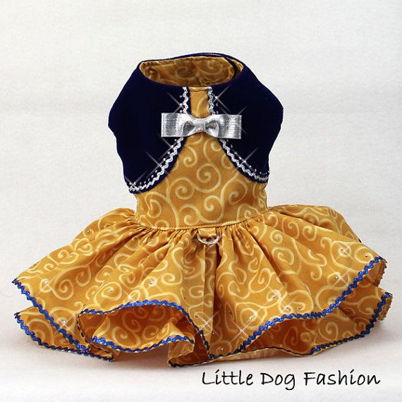 Vestido de perro de oro fiesta de Navidad de por LittleDogFashion