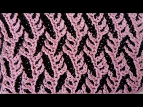 "Two-color brioche pattern ""Branches"" + free chart - YouTube"