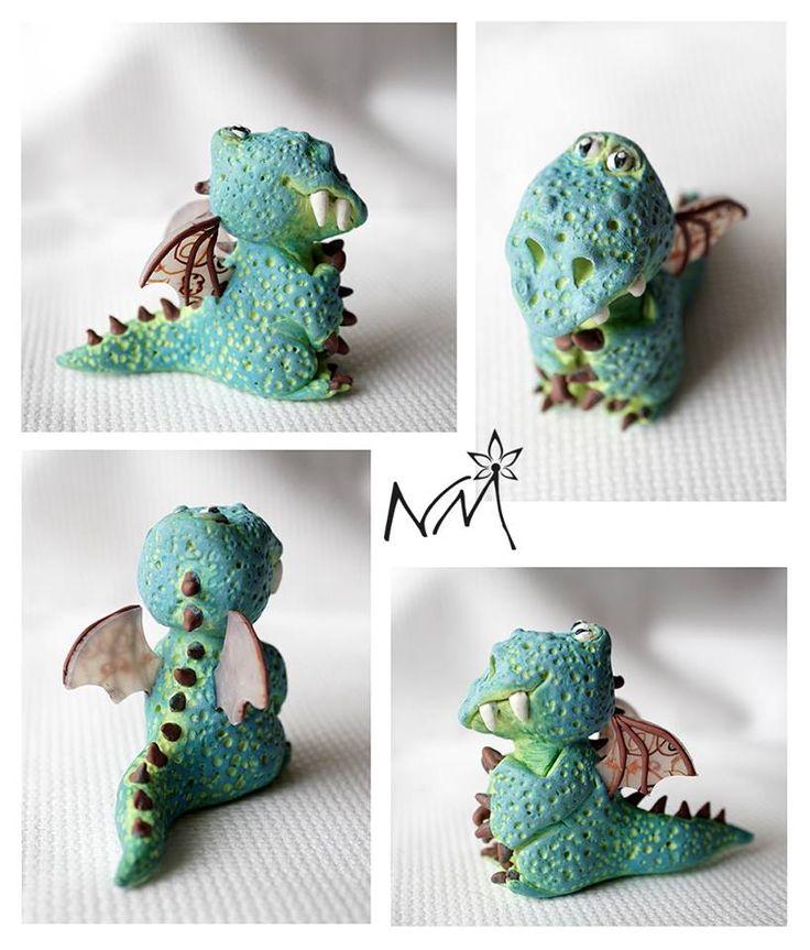 Martina Průšová - figurka draka z polymerové hmoty podle workshopu od Alessio Busanca