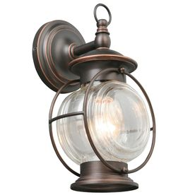 Caliburn 12.25-in H Oil-Rubbed Bronze Outdoor Wall Light: nautical light fixture, super easy install