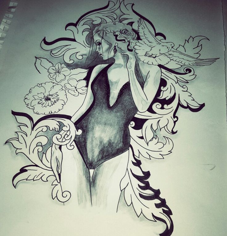 Tattoo design woman floral birdy