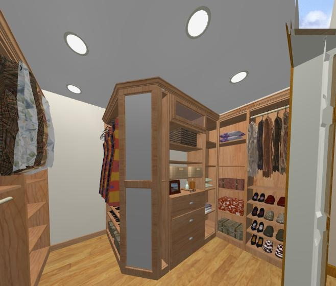 Master Walk In Closet With Full Length Mirror Outside Corner Cabinet Closet Design