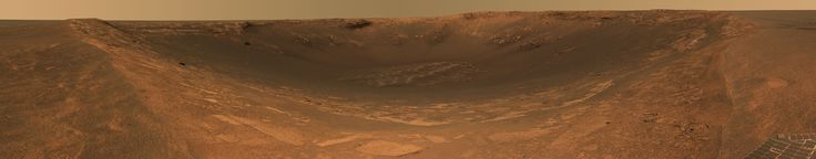 Endurance Crater panorama, taken from the Mars Opportunity Rover. Press release date was May 6, 2004.
