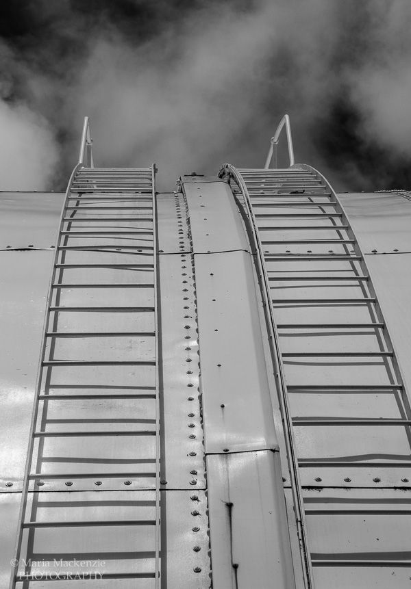 Black & White image gives a false sense to  these ladders reaching the heavens. Canberra Observatory