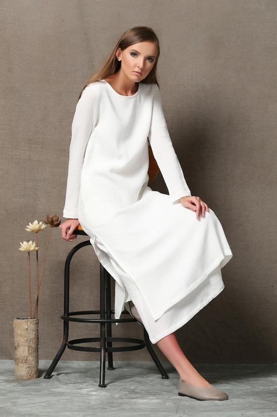 White Dress Women Cotton Dress With Pockets Casual Dress Etsy White Dresses For Women Women Cotton Dress Maxi Dress With Sleeves