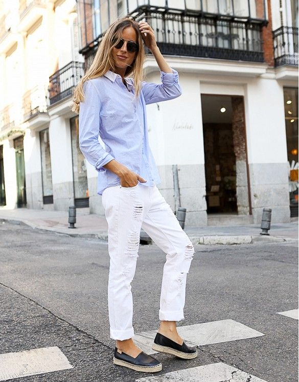 Distressed white boyfriend jeans, a breezy button-up shirt and espadrilles make for the ultimate low-maintenance outfit