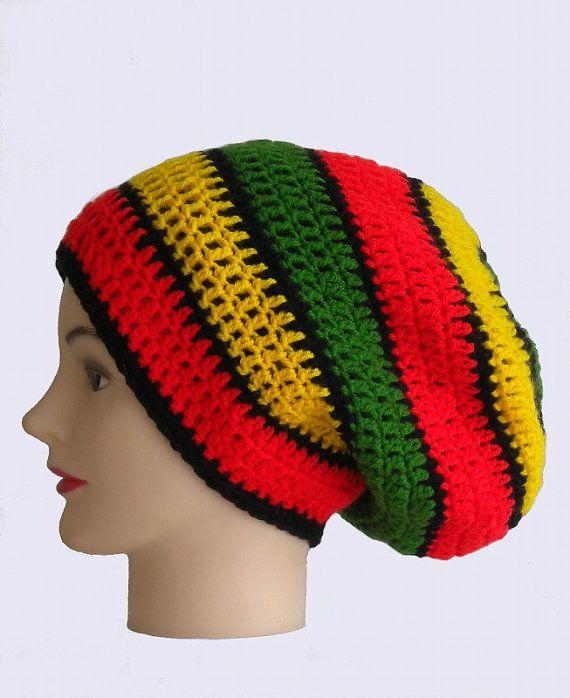 Rasta striped dreadlock hat big slouchy beanie by ... Dreadlock Hats For Men
