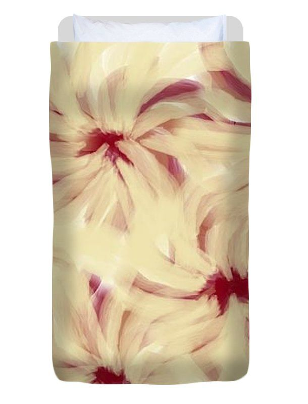 Twin Size Duvet Covers of 'Cream, Brown And Dark Red' by Sumi e Master Linda Velasquez.