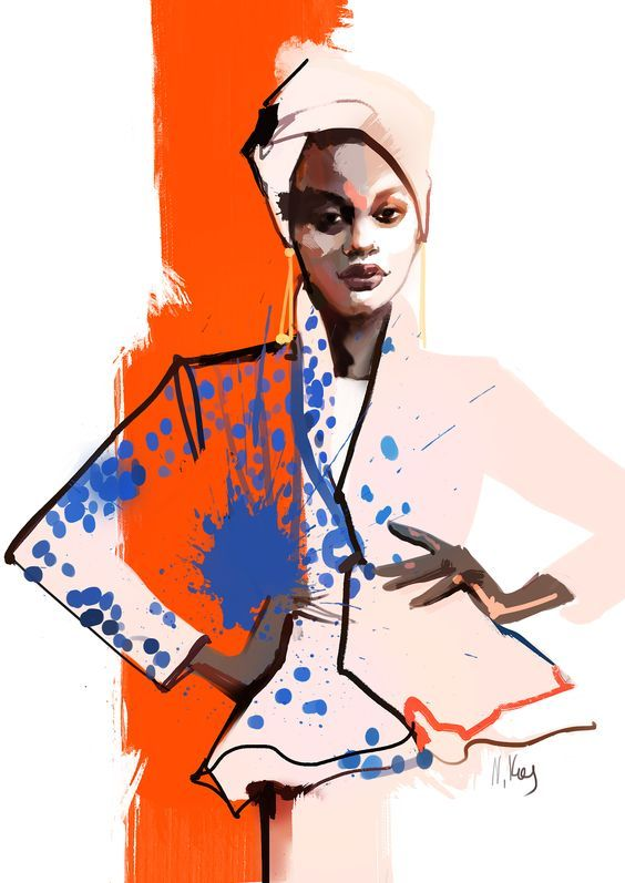 Hennessy • Fashion Art Print | Fashion Illustration | Art poster | Wall art | Fine art print | Fashion sketch | Home decor | Black woman – Zun Phyu (Nunki)