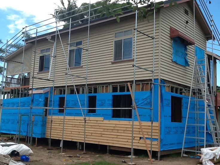 The house is wrapped in insulation and the exterior pine cladding is started.