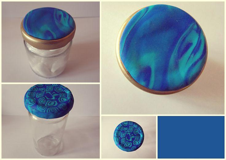 blue fancy fimo jars