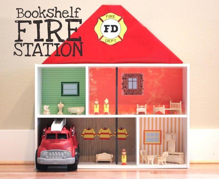 Boy's dollhouse: bookshelf fire station
