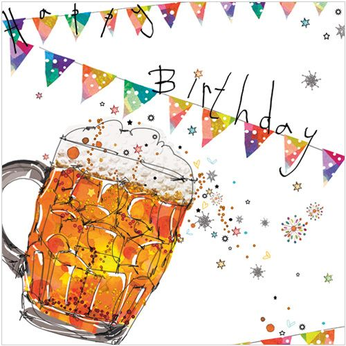 """NAME: Birthday Pint CODE: WS429 PRICE: £2.00 Presentation: With a white 100 gsm, 100% recycled, envelope. Blank for your own message Paper Type: Matt Textured Artist: Lorraine Duff Size: 5 x 5"""" : 127 x 127mm"""
