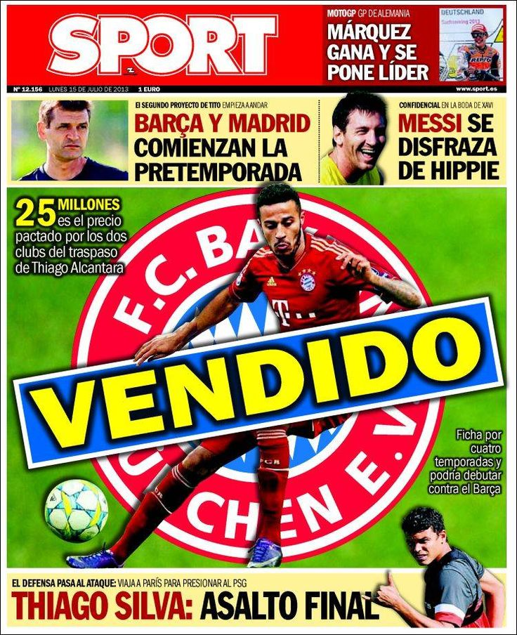 Los Titulares y Portadas de Noticias Destacadas Españolas del 15 de Julio de 2013 del Diario Deportivo Sport ¿Que le parecio esta Portada de este Diario Español?