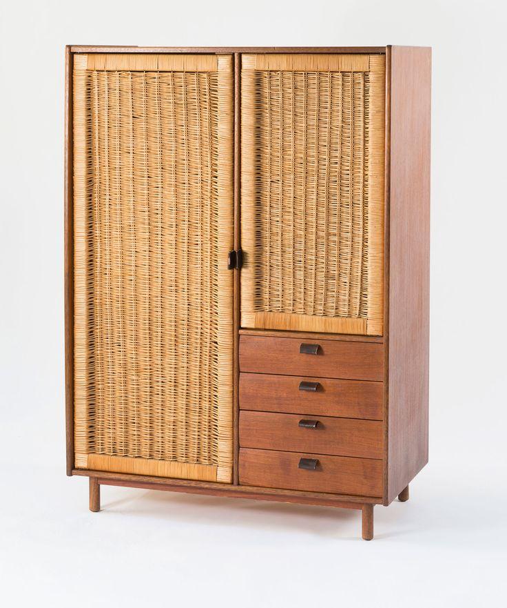 Sebastian Muggenthaler; Teak and Rattan Wardrobe, 1960s.