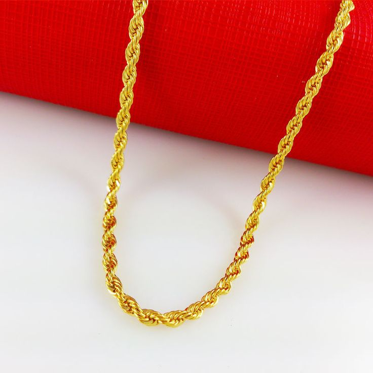 24K Gold Yellow Solid GP Jewelry 3mm harness rope Unisex Chain Necklace 24'' #nikkisjewel #Chain