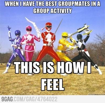 "in our project for mrs corrells class we actually named our group ""team power rangers"" and gave everyone a color lol"