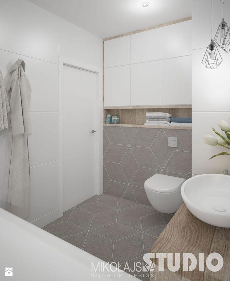 łazienka-jasna-biała-beżowa-biel-beż-drewno-w-łazience-romby - zdjęcie od MIKOŁAJSKAstudio - Łazienka - Styl Skandynawski - MIKOŁAJSKAstudio
