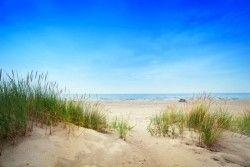 Fotobehang: Strand met blauwe Hemel