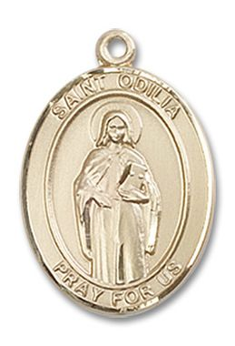 St. Odilia Patron Saint Medal 14kt Yellow Gold (Medium)