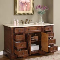 @Overstock.com   Silkroad Exclusive 58 Inch Marble Stone Top Bathroom Vanity  Lavatory